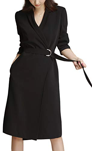 (ROEYSHOUSE Women Midi Dress 3/4 Sleeves Wrap Suit Trench Coat with Belt for Spring Fall Black)
