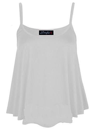 Blanc Manches Gilet Plus Admirefashion Sans Swing Femme Pour Uni Neuf Cami À Top Bretelles Évasée Taille xOO0qFZ