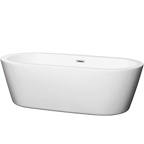 Wyndham Collection Mermaid 71 inch Freestanding Bathtub for Bathroom in White with Polished Chrome Drain and Overflow Trim