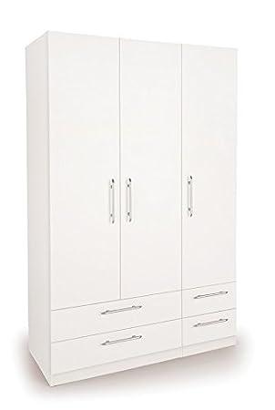 Home Hand – Weiß Kleiderschrank 3 Türen mit 4 Schubladen Slimline ...