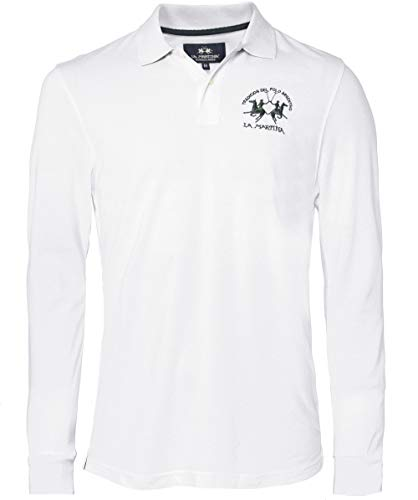 La Martina Men's Long Sleeve Pique Polo Shirt White for sale  Delivered anywhere in USA
