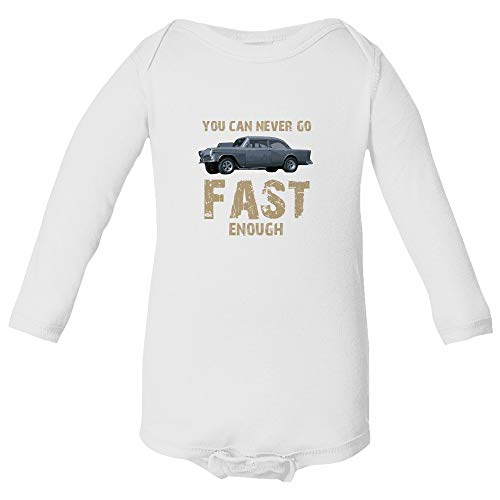 Baku Apparel Two Lane Blacktop Hot Rod Street Drag Racing Little Infant Baby Long Sleeve Bodysuit (White, 6M)