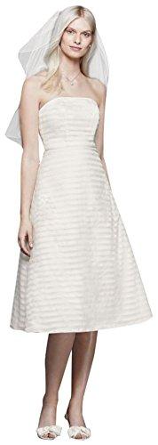 Striped Organza Short Wedding Dress Style OP1280, Ivory, 16