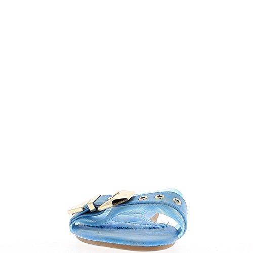 ChaussMoi Nu-Pieds Femme Bleus avec Large Bride Effet Tissu à Talon de 1cm