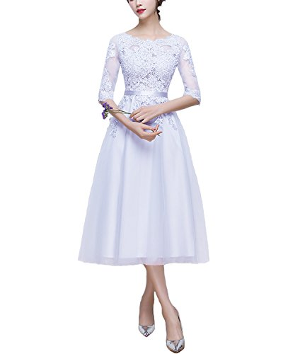 Abendkleider Ärmeln mit Spitze LuckyShe Kurz ED1718 cocktaikleider 1 Wadenlang Damen Tüll Weiß 2 xYq1fwzX1E