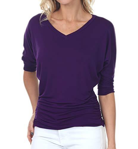 iliad USA 7006 Womens V Neck Dolman Top 3/4 Sleeve Side Shirring, Eggplant, X-Large