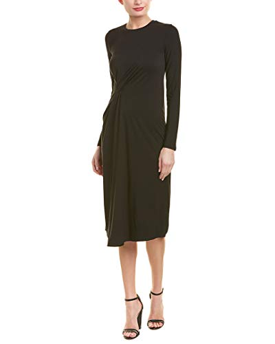 Vince Women's Long Sleeve Side Drape Dress Black ()