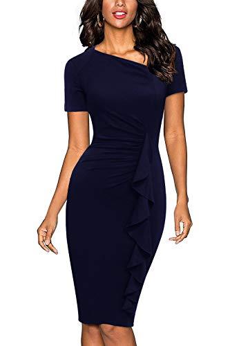 (Berydress Women's Retro 1950s V-Neck Short Sleeve Knee-Length Ruffles Slim Ruched Bodycon Pencil Cocktail Dress (S, 6073-Navy 2))