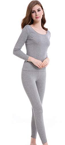 Thermal Underwear Women Long - Scoop Neck Ultra - Thin Johns Set Top & Bottom Light Gray (Thermal Womens Gray)