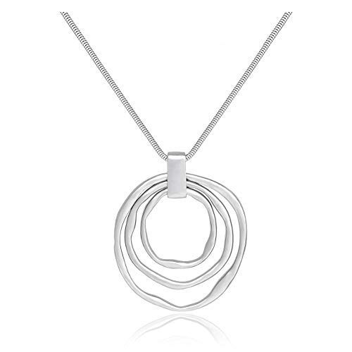 NVENF Long Sweater Chain Double Circle Pendant Necklace Bold Snake Chain Women Statement Necklace (Silver Triple)
