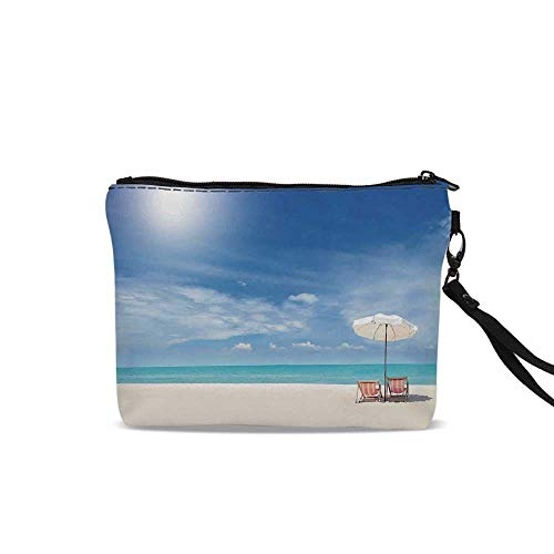 - Hawaiian Cosmetic Bag Storage Bag,Secluded Tropical Island Beach with Chairs and Umbrella Ocean Sand Seascape Photo For Women Girl,9
