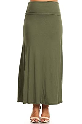 PB COUTURE Womens Plus Size Flowy Long Maxi Skirt Fold Over Waistband