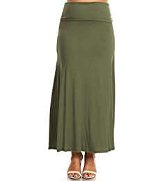 27bc128226233 PB COUTURE CANARI Womens Plus Size Flowy Long Maxi Skirt Fold Over Waistband  Black-1X at Amazon Women s Clothing store