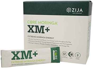 Zija XM Pure Moringa Tree Leaf Natural Supplement Instant Organic Powder for Extreme Energy and Weight Loss Drink 32 Pouches