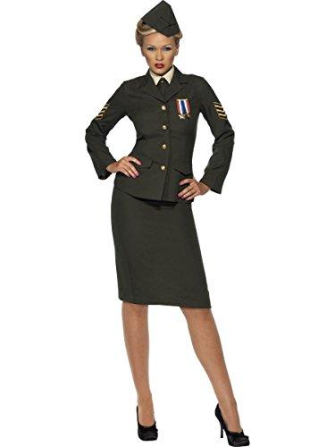 Mens Wartime Officer Costumes (Smiffy's Men's Wartime Officer Costume Uniform Dress Medium Green)