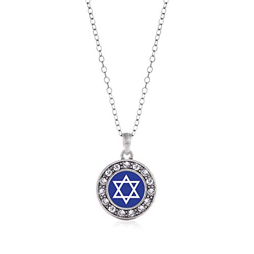 Inspired Silver - Star of David Charm Necklace for Women - Silver Circle Charm 18 Inch Necklace with Cubic Zirconia Jewelry