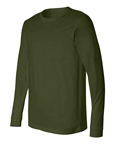 (US Military Style Long Sleeve Men's OD T-Shirt, Elastic Cuff, Made in The USA (Large))