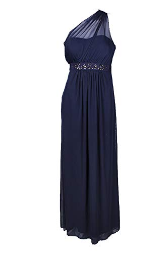 Embellished One Shoulder Gown - Adrianna Papell Midnight Blue Embellished One-Shoulder Sheath Gown