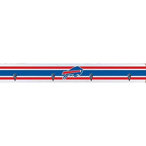 Rustic Marlin Designs NFL Buffalo Bills Coat Rack Wall Hook (4 Hooks), White, 44