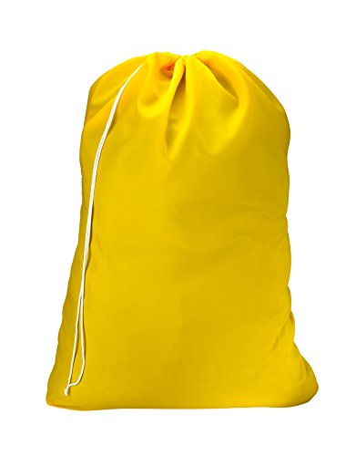 - Nylon Laundry Bag - Locking Drawstring Closure and Machine Washable. These Large Bags will Fit a Laundry Basket or Hamper and Strong Enough to Carry up to Three Loads of Clothes. (Yellow)