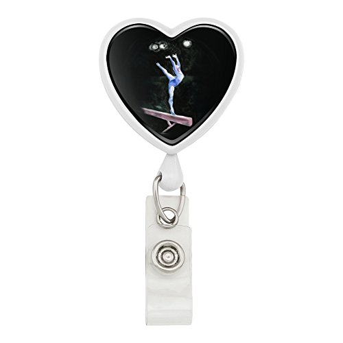 - Female Gymnast on Vault Pommel Horse Gymnastics Heart Lanyard Retractable Reel Badge ID Card Holder - White