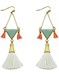 Womens Mint Triangle Stone Tassel Earrings, White, One Size