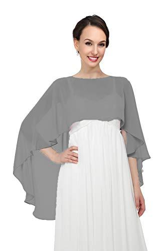 Shawls and Wraps for Evening Dresses Chiffon Wedding Capes Soft Shrugs Dark ()