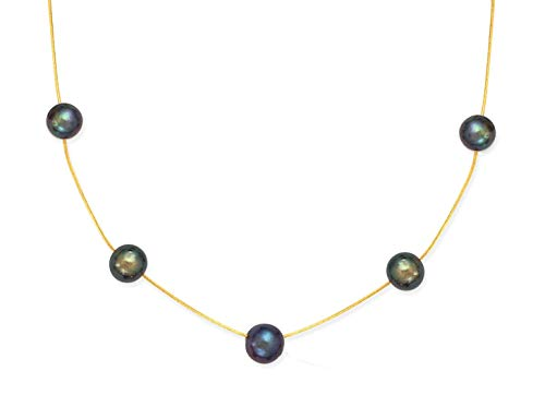 Element Jewelry Pearl Necklace - 14k Yellow Gold Chain with 5 Dyed Black Cultured Freshwater Pearls- 16 IN
