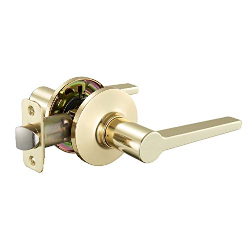 AmazonBasics Manchester Passage Door Lever, Polished Brass ()