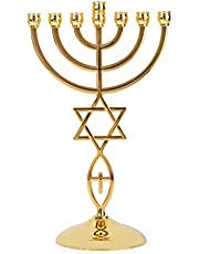 BRTAGG Gold Plated Messianic Menorah Israel 7 Branch Jewish Candle Holder Holy Land Israel Gifts Messiah Candlestick Decorations Decor