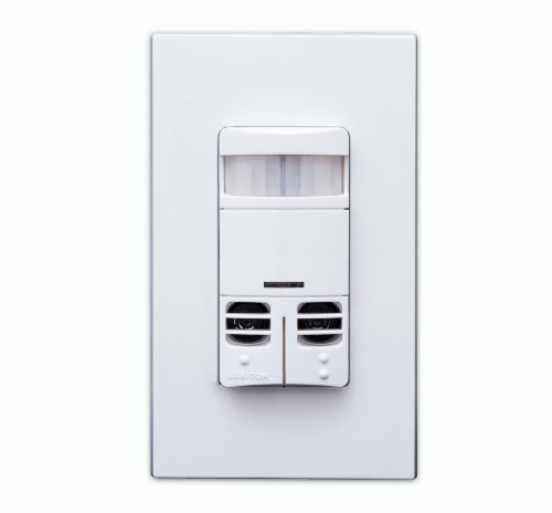 Leviton OSSMD-GDW Dual-Relay, No Neutral, Multi-Technology Wall Switch Sensor, 2400 sq. ft. Major Motion Coverage, 400 sq. ft. Minor Motion Coverage, White