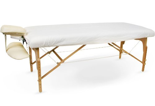 Massage Table Flannel Fitted Sheet (1 Sheet, White) BodyChoice