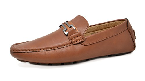 BRUNO MARC NEW YORK Men's Hugh-01 Brown Faux Leather Driving Penny Loafers Boat Shoes - 8.5 M US