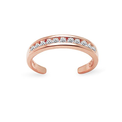 Rose Gold Flashed Sterling Silver Channel Cubic Zirconia CZ Sparkling Adjustable Toe Ring by River Island Jewelry