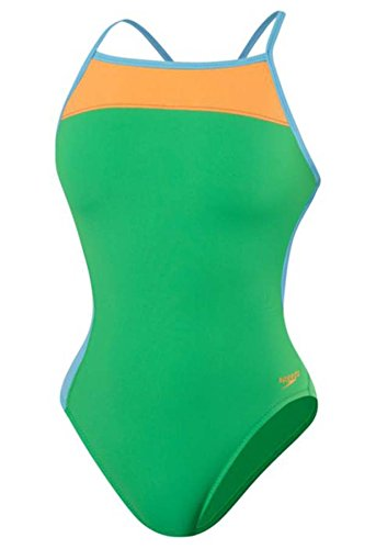 Speedo 8191528 Womens Color Block Extreme Back 1Pc, Bright Green, 30 by Speedo