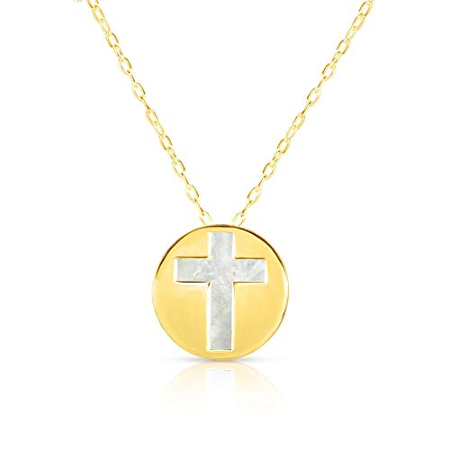 (14K Yellow Gold Mother Of Pearl Cross Pendant Necklace, 16