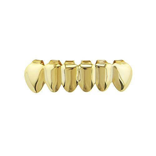 (GJF Unisex Luxurious Gold Plated Hip Hop Bling Tooth Set Single Stick Top & Bottom Grill Teeth Caps - High Glossy for Adults Costume Party Rapper Accessories (Color : Gold))