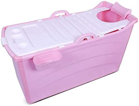 折りたたみ風呂TubAdultポータブル保冷バスタブ、インフレータブルバスタブ、ストレートレッグバスタブ折りたたみ拡張しました (Color : Pink)