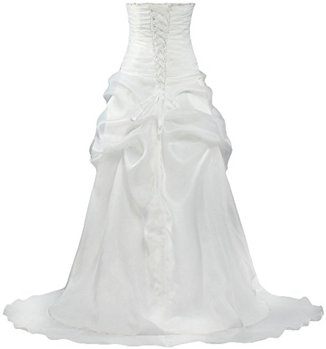 ANTS Women's Casual Organza High Low Wedding Dresses Bridal Gown Size 2 US White