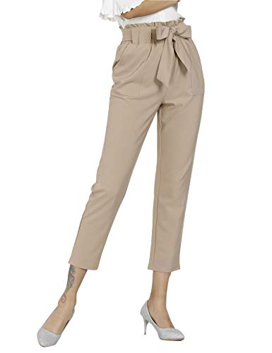 Freeprance Women's Pants Casual Trouser Paper Bag Pants Elastic Waist Slim Pockets XCA_L Light -