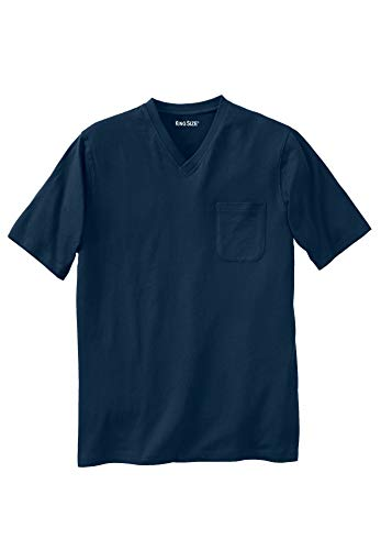 (KingSize Men's Big & Tall Lightweight Cotton V-Neck Tee Shirt with Pocket, Navy Tall-L)