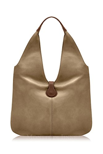 Montte Di Jinne - |100% Soft Italian Leather |Slouchy Shoulder Bag|Luxury Gift for Women| Dark Chocolate/Light Taupe
