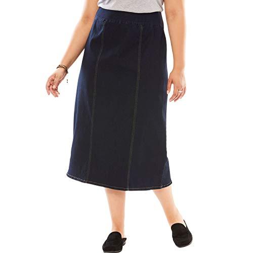- Woman Within Plus Size Smooth Waist A-Line Denim Skirt - Indigo, 20 W