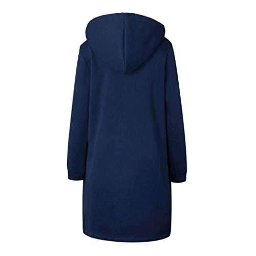 Hot Moda Casual Alta Cerniera Qualità Coulisse Hoody Blau Cappuccio Eleganti Outerwear Anteriori Manica Abbigliamento Con znwUR