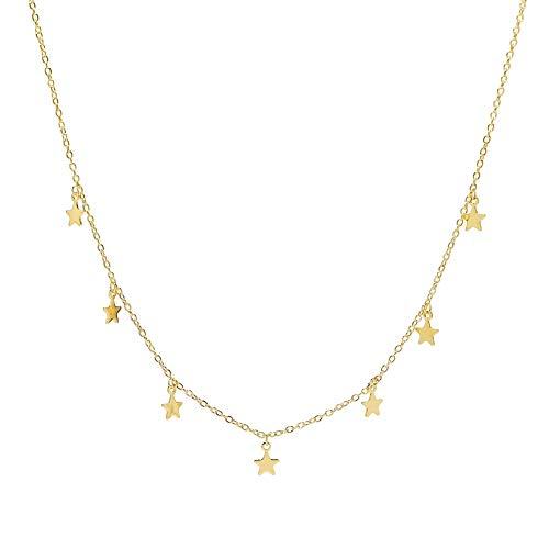 18K Gold Star Choker - Star Choker Necklace Gold - Celestial Star Choker - Gold Star Necklace - 7 Star Necklace - Star Choker ()