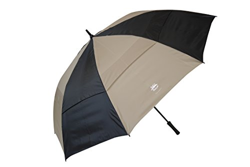 KUD 68 Inch Automatic Open stick Golf Umbrella with Large Oversize Windproof Double Canopy (Brown)