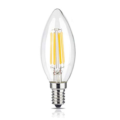 (BRIMAX LED Candelabra Bulbs, 4W 2700K Warm White Candle Light Bulbs, 380LM E12 Base Chandelier LED Bulbs, C35 Torpedo Shape Filament Bulb, 25W-40W Equivalent, Indoor&Outdoor Vintage Bulb- 1Pack)