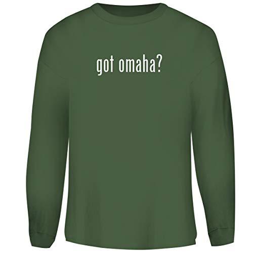 (One Legging it Around got Omaha? - Men's Funny Soft Adult Crewneck Sweatshirt, Military, X-Large)