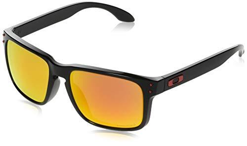 Oakley Men's OO9244 Holbrook Asian Fit Rectangular Sunglasses, Polished Black/Prizm Ruby, 56 mm (Oakley Holbrook Sunglasses Matte Black Red Iridium)