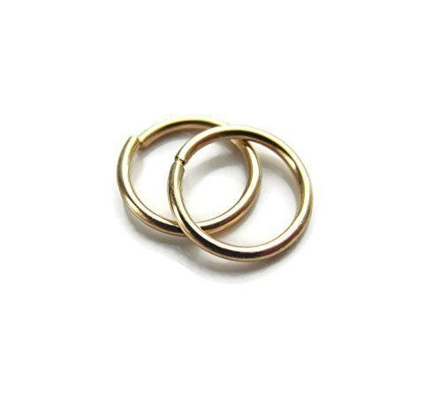 Handmade Tiny Hoop Earrings Gold filled Snug Fit 7.5mm-8mm Designed by ()